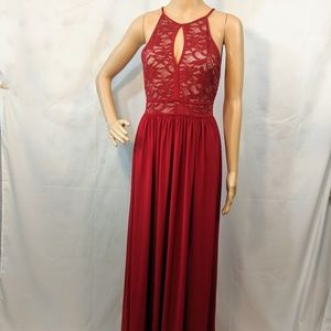 Red Nightway full length dress with lace